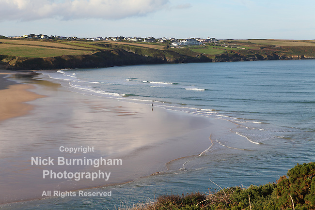 PENTIRE, NEWQUAY, CORNWALL, UK - OCTOBER 3, 2016: Early morning views along Pentire in Newquay, and out over the River Gannel estuary.
