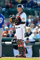 Baltimore Orioles catcher Matt Wieters #32 during a Spring Training game against the Toronto Blue Jays at Ed Smith Stadium on March 7, 2013 in Sarasota, Florida.  Balitmore defeated Toronto 11-10.  (Mike Janes/Four Seam Images)