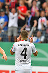 11.08.2019, Carl-Benz-Stadion, Mannheim, GER, DFB Pokal, 1. Runde, SV Waldhof Mannheim vs. Eintracht Frankfurt, <br /> <br /> DFL REGULATIONS PROHIBIT ANY USE OF PHOTOGRAPHS AS IMAGE SEQUENCES AND/OR QUASI-VIDEO.<br /> <br /> im Bild: Ante Rebic (Eintracht Frankfurt #4) jubelt ueber das Tor zum 3:5<br /> <br /> Foto © nordphoto / Fabisch