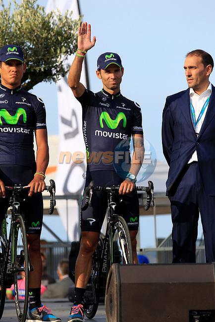 Movistar Team riders including Alejandro Valverde (ESP) at the Team Presentation ceremony held in Porto Vecchio, Corsica, France.<br /> 27th June 2013. <br /> (Photo:Eoin Clarke/www.newsfile.ie)