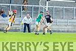 Maurice O'Connor of Kilmoyley ready to raise the green flag as he put the sliotar past Abbeydorney keeper Sean Holden in the R2 game of the Garvey Supervalu Hurling Championship on Sunday.