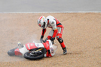 The English rider Danny Webb falling during free practice 1 at the Grand Prix Aragon MotoGP