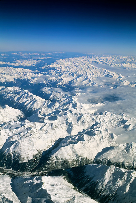 SWITZERLAND, AERIAL VIEW OF ALPS IN WINTER