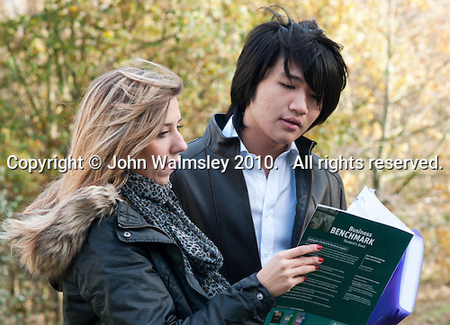 Portrait of two English as a Foreign Language students, Further Education College.