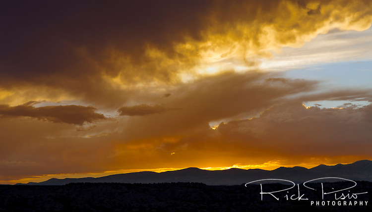 The sun sets behind the Jemez Mountains in Northern New Mexico