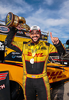 Sep 16, 2018; Mohnton, PA, USA; NHRA funny car driver J.R. Todd celebrates after winning the Dodge Nationals at Maple Grove Raceway. Mandatory Credit: Mark J. Rebilas-USA TODAY Sports