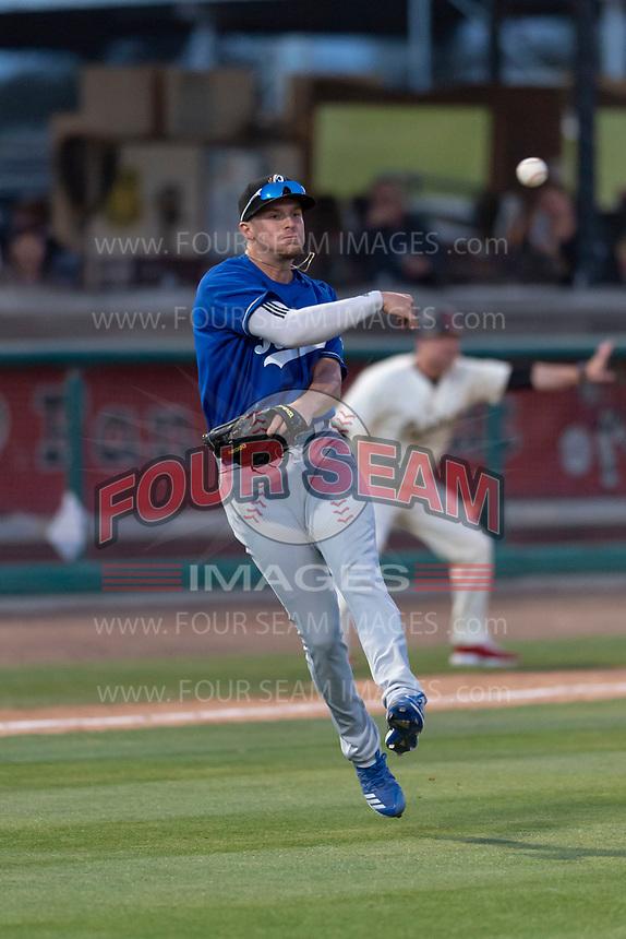 Rancho Cucamonga Quakes third baseman Devin Mann (33) during a California League game against the Visalia Rawhide on April 9, 2019 in Visalia, California. Visalia defeated Rancho Cucamonga 8-5. (Zachary Lucy/Four Seam Images)