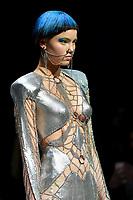 7 September 2017, Melbourne - Model parades design by student Taran Battye during the Melbourne Fashion Week in Melbourne, Australia. (Photo Sydney Low / asteriskimages.com)