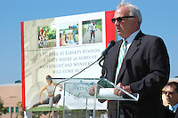May 30 2008.  Liberty Station, Point Loma, CA, USA.  San Diego City Mayor Jerry Sanders speaks at a ground breaking ceremony for Phase 2 of the NTC Park development at Liberty Station.   The 28 acre park will include landscape for passive uses, two large pinic areas, benches & barbeques, restrooms, a playground, walking trails, large open spaces and open spaces.  It is anticipated to be completed by Summer 2009.
