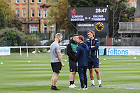Players prepare for the Greene King IPA Championship match between London Scottish Football Club and Ealing Trailfinders at Richmond Athletic Ground, Richmond, United Kingdom on 8 September 2018. Photo by David Horn.