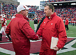 Wisconsin Badgers head coach Bret Bielema shakes hands with Indiana Hoosiers head coach Bill Lynch after an NCAA college football game on November 13, 2010 at Camp Randall Stadium in Madison, Wisconsin. The Badgers won 83-20. (Photo by David Stluka)