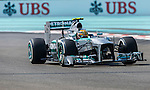 Lewis Hamilton of Great Britain and Mercedes AMG Petronas drives during the Abu Dhabi Formula One Grand Prix 2013 at the Yas Marina Circuit on November 3, 2013 in Abu Dhabi, United Arab Emirates. Photo by Victor Fraile / The Power of Sport Images