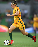 22 November 2017, Melbourne - CAITLIN FOORD (9) of Australia runs with the ball during an international friendly match between the Australian Matildas and China PR at AAMI Stadium in Melbourne, Australia.. Australia won 5-1. Photo Sydney Low