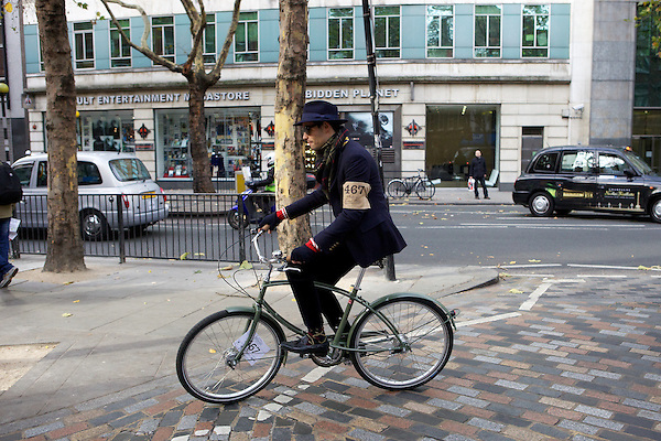 Mark-Francis Vandelli from Made in Chelsea sets off on his bicycle during The Tweed Run, London
