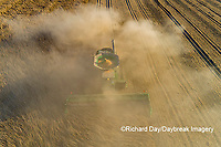 63801-13217 Harvesting soybeans in fall-aerial Marion Co. IL