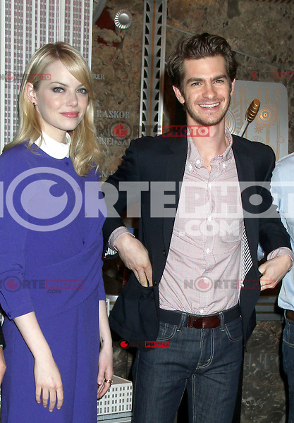 June 25, 2012 Emma Stone and Andrew Garfield, of The Amazing Spider-man film, attend the lighting ceremony  to support Stand Up to Cancer at the Empire State Building in New York City. &copy; RW/MediaPunch Inc. **NORTEPHOTO.COM*<br />