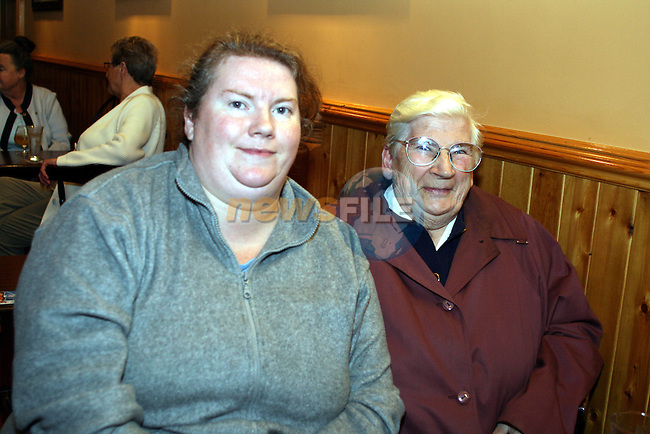 Sharon and Agnes Moore, Woodtown at the Duleek Senior Citizen Outing Committee Annual Auction in the Greyhound Pub, Duleek...Photo NEWSFILE/Jenny Matthews.(Photo credit should read Jenny Matthews/NEWSFILE)....This Picture has been sent you under the condtions enclosed by:.Newsfile Ltd..The Studio,.Millmount Abbey,.Drogheda,.Co Meath..Ireland..Tel: +353(0)41-9871240.Fax: +353(0)41-9871260.GSM: +353(0)86-2500958.email: pictures@newsfile.ie.www.newsfile.ie.FTP: 193.120.102.198.