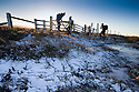 02/01/17<br /> <br /> Walkers enjoying a bracing Bank Holiday walk s they cross a snow gateway on the Pennine Way, on Ashop Moor high above Glossop in the Derbyshire Peak District.<br /> <br /> All Rights Reserved F Stop Press Ltd. (0)1773 550665   www.fstoppress.com