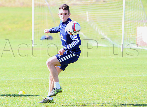 28.03.2016. Mar Hall, Glasgow, Scotland. International Football Scotland Training and Media Event. John McGinn on the ball