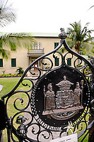 Gate of the Hulihe'e Palace showing the ancient Coat of Arms (King Kamehameha III reign) of the Kingdom of Hawaii. Kailua-Kona, Big Island, Hawaii RIGHTS MANAGED LICENSE AVAILABLE FROM www.PhotoLibrary.com