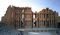 Libia  Sabratha .Citt&agrave;  romana a circa 67km da Tripoli.Teatro Romano,il fondale &quot;Scaenae frons&quot; a tre ordini.<br /> Sabratha Libya.Roman city about 67km from Tripoli.<br /> Roman Theatre,the seabed &quot;scaenae frons&quot; three orders.