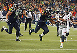 Seattle Seahawks running back Thomas Rawls dives into the end zone against the Denver Broncos during the fourth quarter at CenturyLink Field on August 14, 2015 in Seattle Washington.  Rawls run for a touchdown on a 19-yard pass from quarterback A.J. Archer. The Broncos beat the Seahawks 22-20.  © 2015. Jim Bryant Photo. All Rights Reserved.