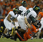 Oregon State WR, 25 Casey Kjos, makes a tackle during the Civil War at Reser Stadium in Corvallis, November 29, 2008.