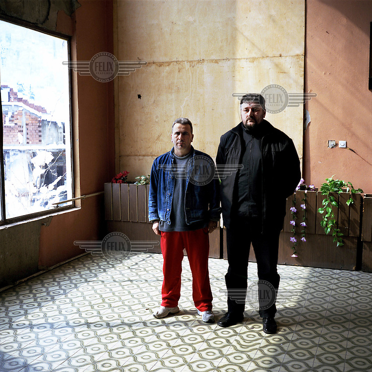 Milos Milanovic (right) and Cvetin Petrovic, who were members of the paramilitary Serbian Guard in 1992. Milanovic now sits on the Srebrenica town council for the party founded by Radovan Karadzic. He doesn't believe a massacre took place there..An estimated 8,000 Bosniak (Muslim) men and boys from the town of Srebrenica were massacred by Serb forces in July 1995.