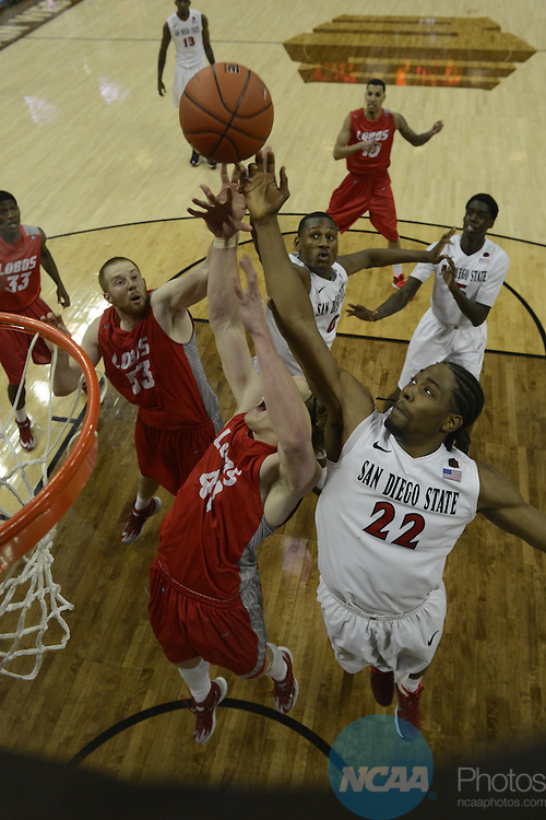 15 Mar 2014:  New Mexico takes on San Diego State during the 2014 Mountain West Conference Men's Basketball Championship at Thomas & Mack Center in Las Vegas, NV.  Justin Tafoya/NCAA Photos