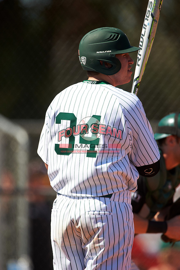 Eastern Michigan Eagles pinch hitter John Rensel Jr. (34) at bat during a game against the Dartmouth Big Green on February 25, 2017 at North Charlotte Regional Park in Port Charlotte, Florida.  Dartmouth defeated Eastern Michigan 8-4.  (Mike Janes/Four Seam Images)