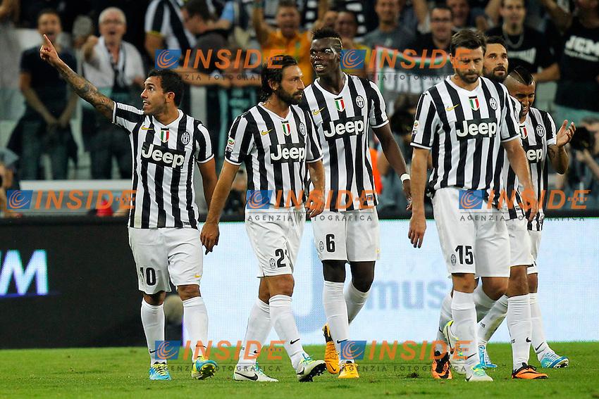 Esultanza dopo il gol di Carlos Tevez Juventus, Goal Celebration,<br /> Torino 31-08-2013<br /> Juventus Stadium <br /> Football Calcio 2013/2014 Serie A <br /> Juventus - Lazio <br /> Foto Marco Bertorello Insidefoto