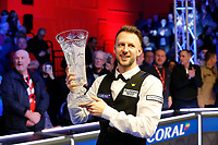 1st March 2020; Waterfront, Southport, Merseyside, England; World Snooker Championship, Coral Players Championship; Judd Trump (ENG) shows off the trophy after his 10-4 victory over Yan Bingtao (CHN) in today's final
