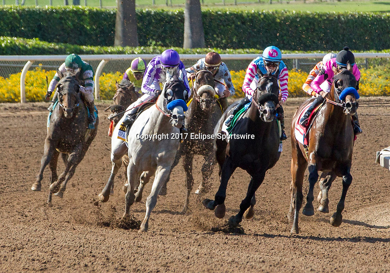 ARCADIA, CA. MAY 27: #6 Cupid ridden by Rafael Bejarano, #5 Midnight Storm ridden by Flavien Prat, #1 American Freedom ridden by Martin Garcia, coming into in the stretch of The Gold Cup at Santa Anita Stakes (Grade 1) on May 27, 2017, at Santa Anita Park in Arcadia, CA.(Photo by Casey Phillips/Eclipse Sportswire/Getty Images)