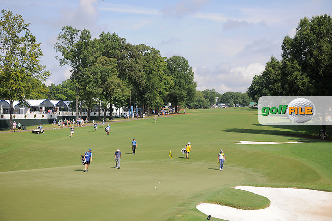 Patrick Cantlay (USA), Soren Kjeldsen (DNK), and Thongchai Jaidee (THA) have the 10th hole surrounded during Friday's round 2 of the PGA Championship at the Quail Hollow Club in Charlotte, North Carolina. 8/11/2017.<br /> Picture: Golffile | Ken Murray<br /> <br /> <br /> All photo usage must carry mandatory copyright credit (&copy; Golffile | Ken Murray)