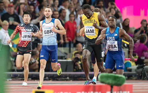 August 12th 2017, London Stadium, East London, England; IAAF World Championships, Day 9;  Jamaican athlete Usain Bolt (2-R) suffers an injury while competing in the men's 4 x 100 metre relay race at the IAAF World Championships in London, United Kingdom, 12August 2017.