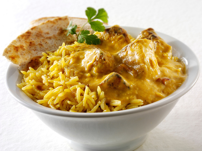 Chicken Pasanda, pilau rive & chipati. Traditional Bangladesh curry.
