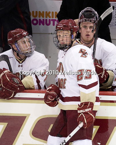 Pat Mullane (BC - 11), Patrick Brown (BC - 23), Jimmy Hayes (BC - 10) - The Boston College Eagles defeated the visiting Merrimack College Warriors 3-2 on Friday, October 29, 2010, at Conte Forum in Chestnut Hill, Massachusetts.