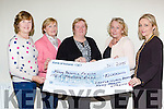 The Castleisland branch of Kerry Parents and Friends presents the proceeds of their Indoor Market€10,000 to the Marie Linehan CEO Kerry Parents and Friends in Castleisland on Tuesday evening l-r: Bertha O'Sullivan PRO, Mary O'Neill Treasurer, Marie Linehan CEO Kerry Parents and Friends, Betyy Walsh Chairperson and Lisa Geaney Secretray