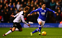 Maxime Colin of Birmingham in action during the Sky Bet Championship match between Birmingham City and Derby County at St Andrews, Birmingham, England on 13 January 2018. Photo by Bradley Collyer / PRiME Media Images.