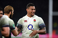 Nathan Hughes of England is all smiles after the match. Old Mutual Wealth Series International match between England and Australia on November 18, 2017 at Twickenham Stadium in London, England. Photo by: Patrick Khachfe / Onside Images