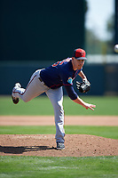 Minnesota Twins relief pitcher Trevor May (65) delivers a pitch during a Spring Training game against the Baltimore Orioles on March 7, 2016 at Ed Smith Stadium in Sarasota, Florida.  Minnesota defeated Baltimore 3-0.  (Mike Janes/Four Seam Images)