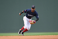 Second baseman Kervin Suarez (36) of the Greenville Drive plays defense in a game against the Augusta GreenJackets on Wednesday, April 25, 2018, at Fluor Field at the West End in Greenville, South Carolina. Augusta won, 9-2. (Tom Priddy/Four Seam Images)