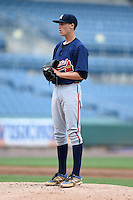 Erikson Lanning (16) of Sequoyah High School in Woodstock, Georgia playing for the Atlanta Braves scout team during the East Coast Pro Showcase on August 2, 2014 at NBT Bank Stadium in Syracuse, New York.  (Mike Janes/Four Seam Images)