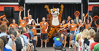 Oswald and the O-Team cheer and welcome incoming first-years and their families during Occidental College Orientation, Aug. 23, 2014 in Rush Gym. (Photo by Marc Campos, Occidental College Photographer)