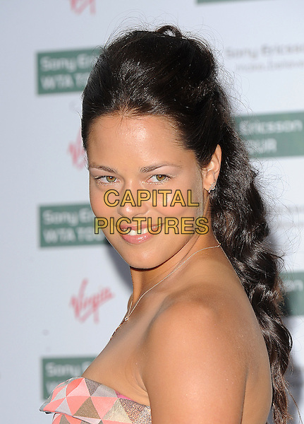 ANA IVANOVIC.The WTA Pre-Wimbledon Party, The Roof Gardens, Kensington, London, USA..June 17th, 2010.headshot portrait pink orange coral patterned pattern print strapless.CAP/BEL.©Tom Belcher/Capital Pictures.