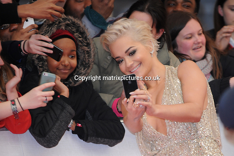 NON EXCLUSIVE PICTURE: PAUL TREADWAY / MATRIXPICTURES.CO.UK<br /> PLEASE CREDIT ALL USES<br /> <br /> WORLD RIGHTS<br /> <br /> British singer and actress Rita Ora attending the BRIT Awards 2015 at the O2 Arena, in London.<br /> <br /> FEBRUARY 25th 2015<br /> <br /> REF: PTY 15627