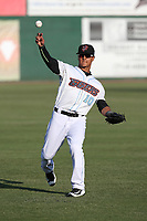 Michael Hermosillo (10) of the Inland Empire 66ers throws before a game against the San Jose Giants at San Manuel Stadium on April 8, 2017 in San Bernardino, California. (Larry Goren/Four Seam Images)