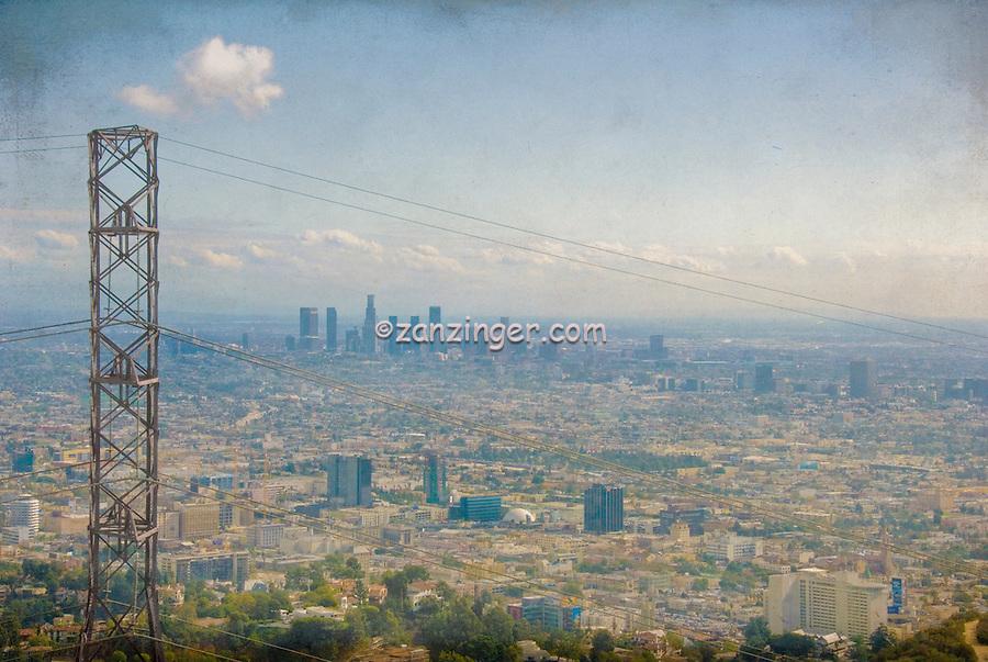 Los Angeles Skyline Power Lines, Digital oil painted texture,  Beautiful, Unique