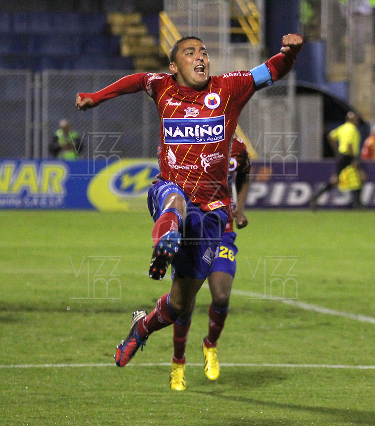 PASTO -COLOMBIA- 13-10--2013. Camilo Pérez del Pasto celebra su gol contra La Equidad. Acción de juego correspondiente al partido entre los equipos Deportivo Pasto 3 y Seguros La Equidad 1 , partido de la  Liga Postobón segundo semestre jugado en el estadio La Libertad /  Camilo Perez of Pasto celebrates his goal against La Equidad .Action game for the match between the teams Deportivo Pasto 3 and Equity Insurance 1 game in the second half played Postobon  League in the stadium La Libertad.Photo: VizzorImage / Stringer /