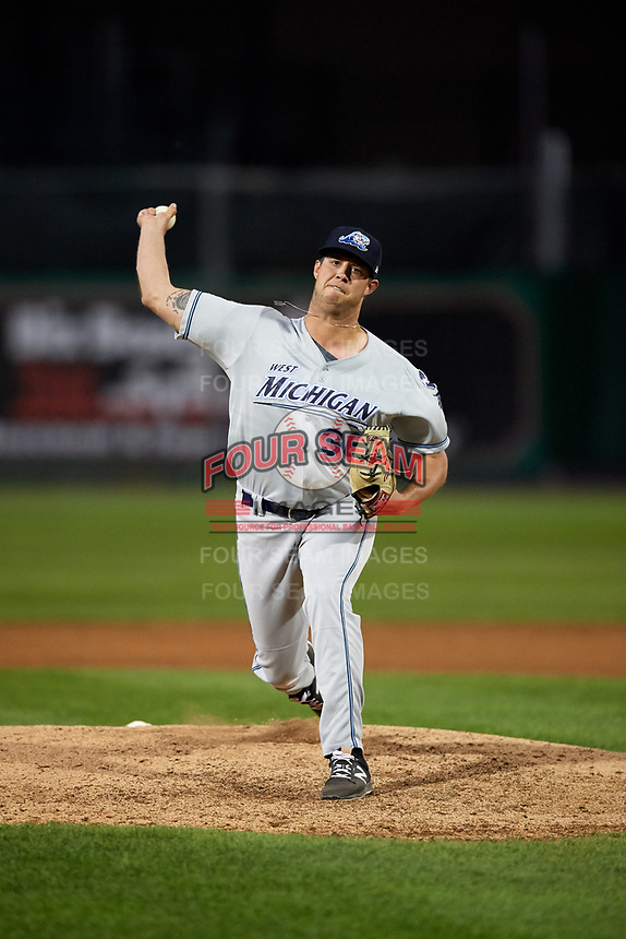 West Michigan Whitecaps relief pitcher Zac Houston (36) delivers a pitch during a game against the Peoria Chiefs on May 8, 2017 at Dozer Park in Peoria, Illinois.  West Michigan defeated Peoria 7-2.  (Mike Janes/Four Seam Images)